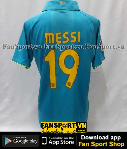 Áo đấu Messi 19 Barcelona 2007-2008 away shirt jersey blue