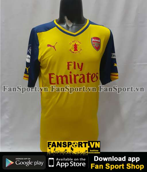 Áo Arsenal FA Cup Final 2015 away shirt jersey yellow player BNWT 2014