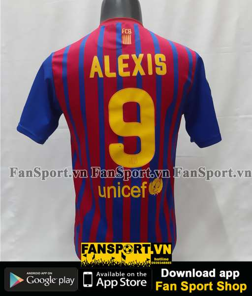 Áo đấu Alexis 9 Barcelona 2011-2012 home shirt jersey red blue