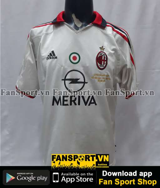 Áo đấu AC Milan UEFA Super Cup 2003 away shirt jersey white 2004