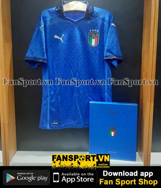 Box Italy 2020-2021 home authentic shirt jersey blue Euro Limited