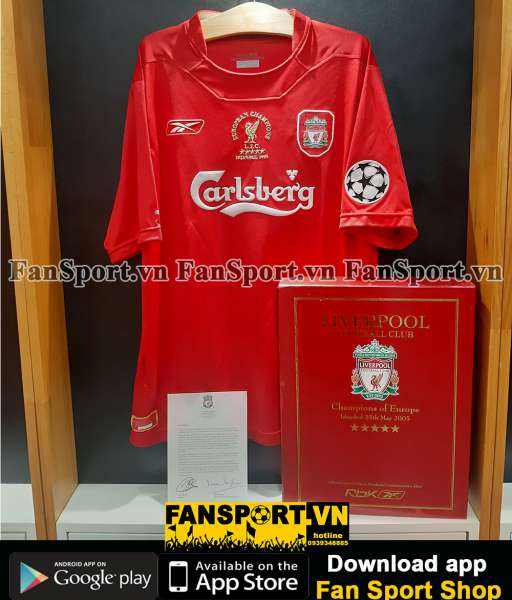 Box áo Liverpool Champion League Winner 2005 home shirt 04016 limited