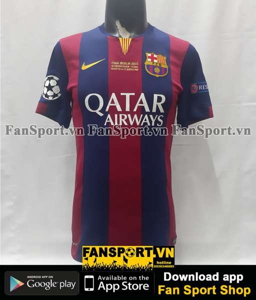 Áo Barcelona Champion League Final 2015 home shirt jersey red 2014