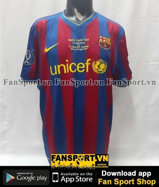 Áo đấu Barcelona UEFA Super Cup 2009 home shirt jersey red blue 2010