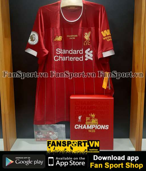 Box áo Liverpool Premier League champs 2019-2020 home shirt jersey red