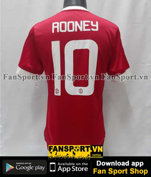 Áo Rooney 10 Manchester United 2015-2016 home FA Cup shirt jersey BNWT