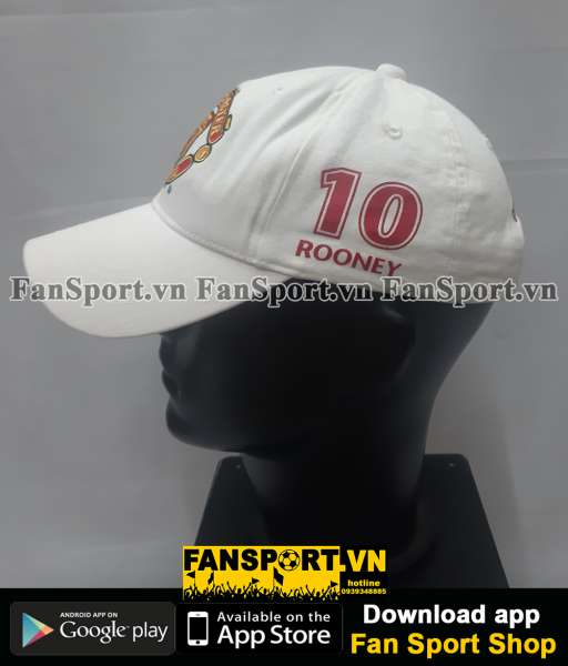 Nón Wanye Rooney 10 Manchester United white cap embroidery signature