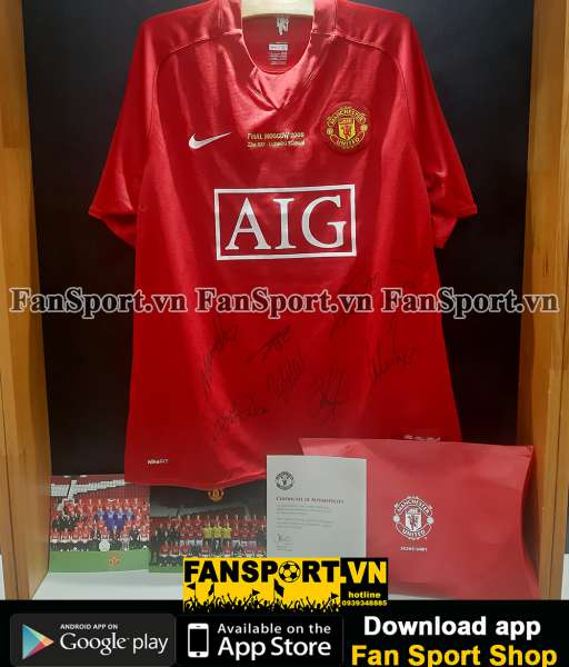 Áo đấu Manchester United 2007-2008-2009 home shirt red COA team signed