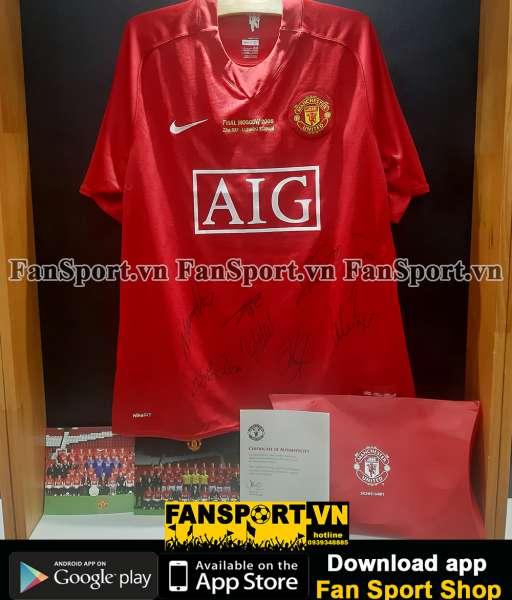 Áo đấu Manchester United 2007-2008-2009 home shirt red COA team signed