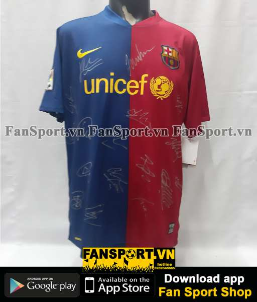 Áo đấu Barcelona 2008-2009 home shirt jersey team signed hand COA BNWT