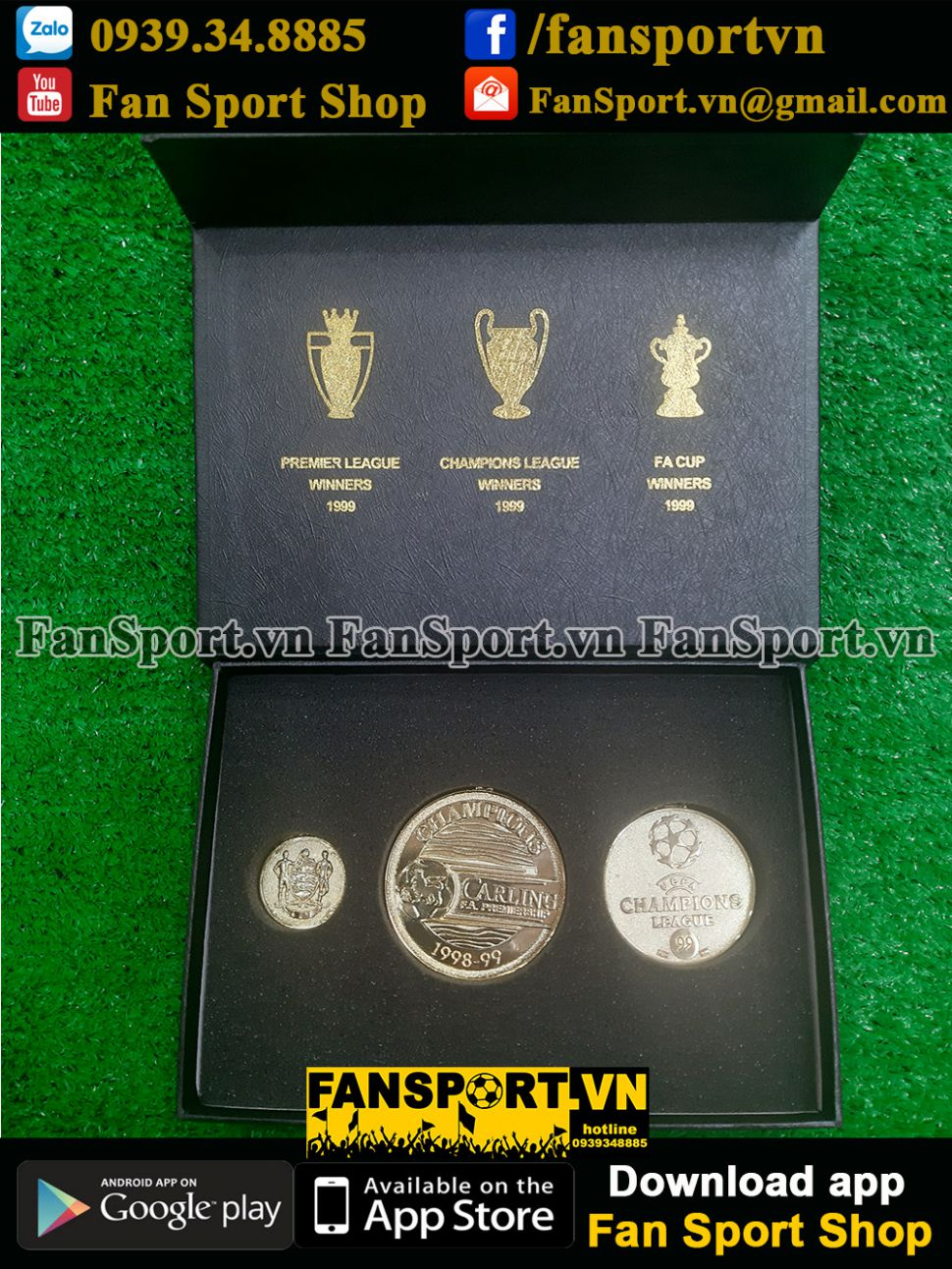 Box medal Manchester United Treble 1999 Premier League Champion FA cup
