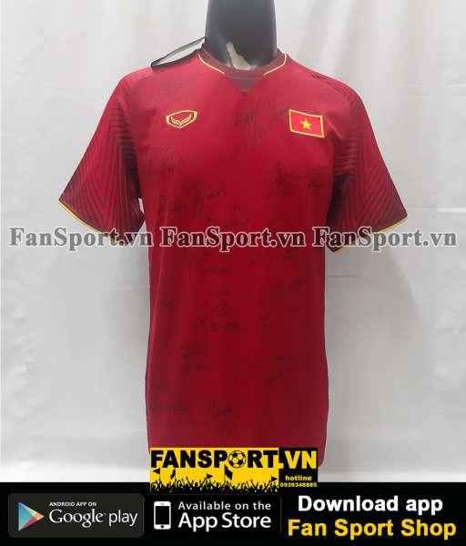 Áo đấu Việt Nam 2018 home đỏ Grand Sport chữ ký cầu thủ shirt jerseh