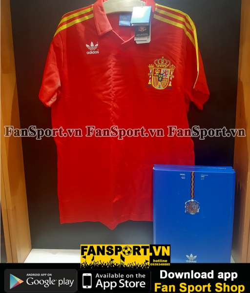 Box 2 áo Spain Adidas Techfit World Cup 2010 retro 1982 limited set