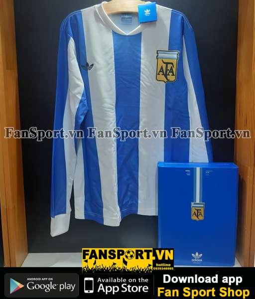 Box 2 áo Argentina Adidas Techfit World Cup 2010-2011 retro 1978 shirt