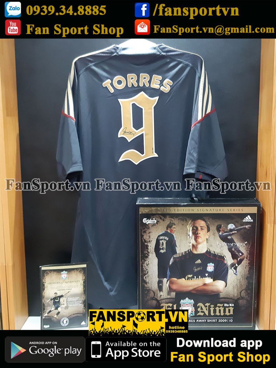 Box Torres 9 Liverpool 2009-2010 away shirt signed limited 2163 set