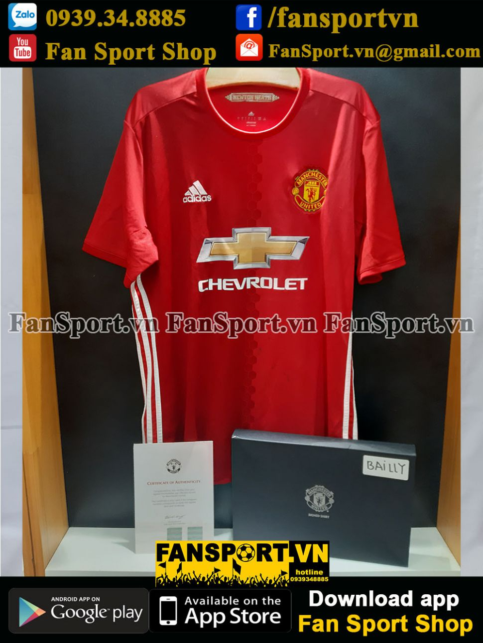Box Bailly signed Manchester United 2016-2017 home shirt jersey red