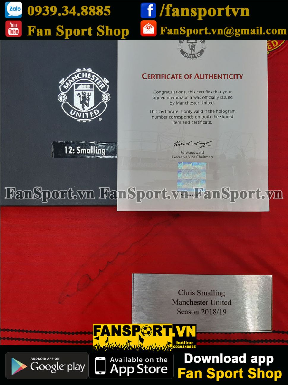 Box Smalling signed Manchester United 2018-2019 home shirt jersey red