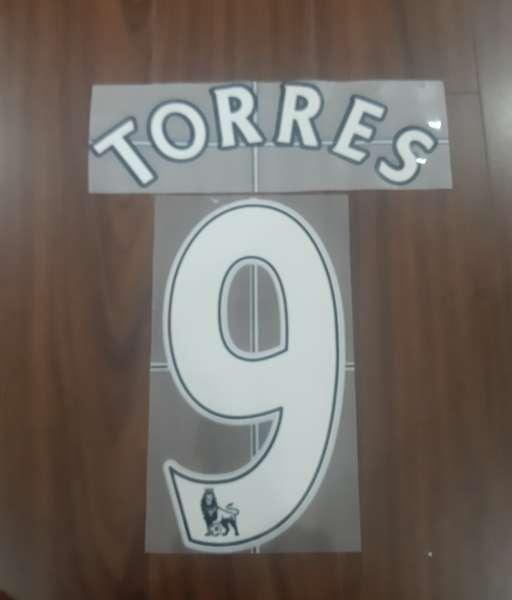 Font Torres 9 Liverpool Premier League 2007-2013 white nameset