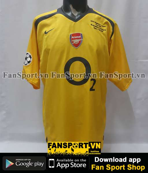 Áo Arsenal Champion League Final 2006 away shirt jersey yellow 2005