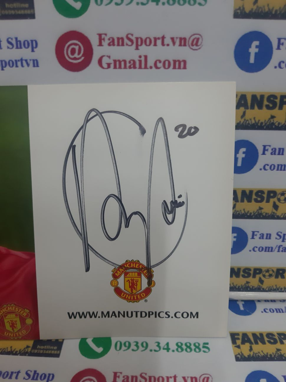 Photo chữ ký Van Persie Manchester United 2013 2014 home sign tem COA
