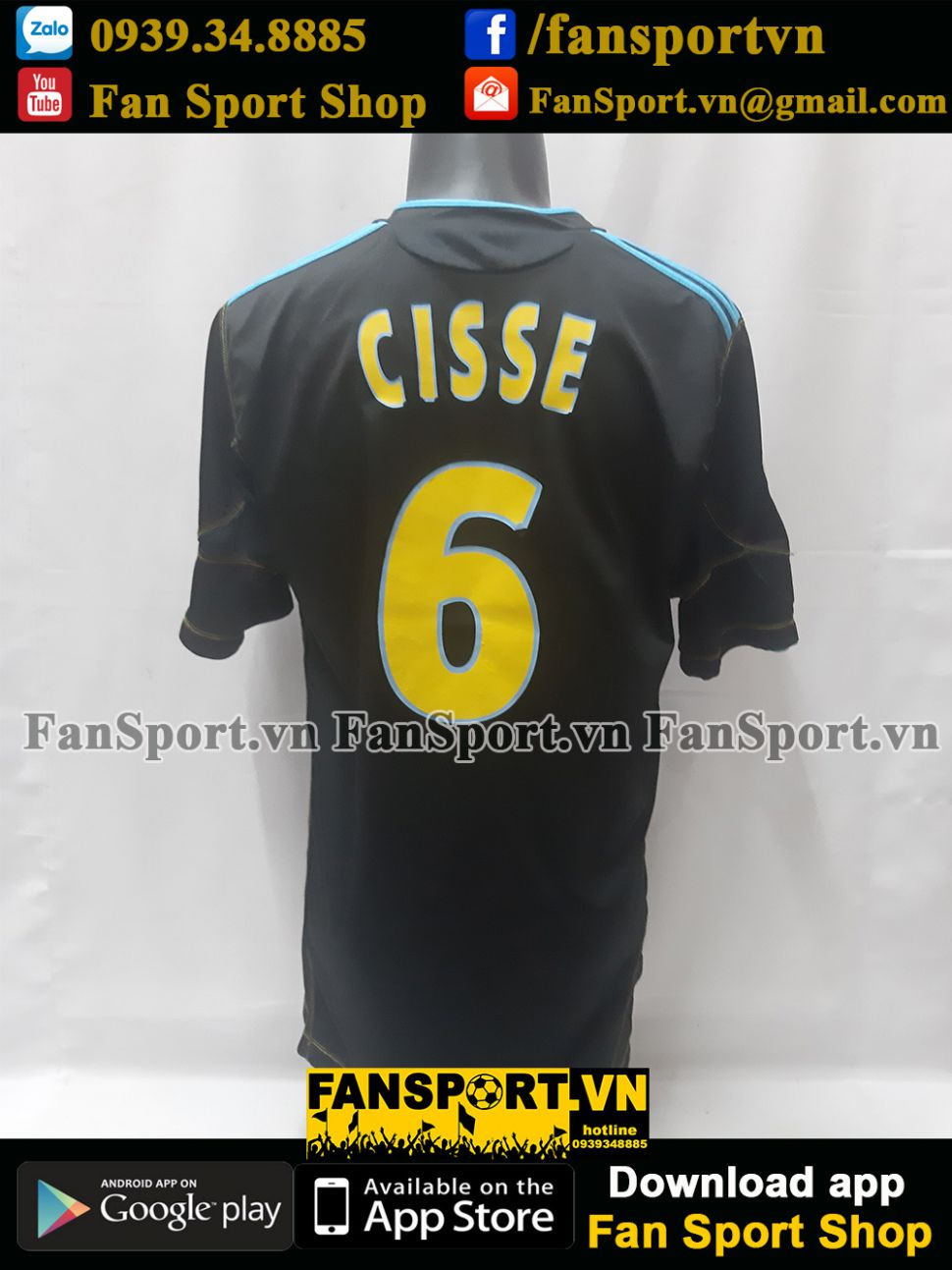 Áo đấu Cisse 6 Marrseille 2010 2011 third shirt jersey black