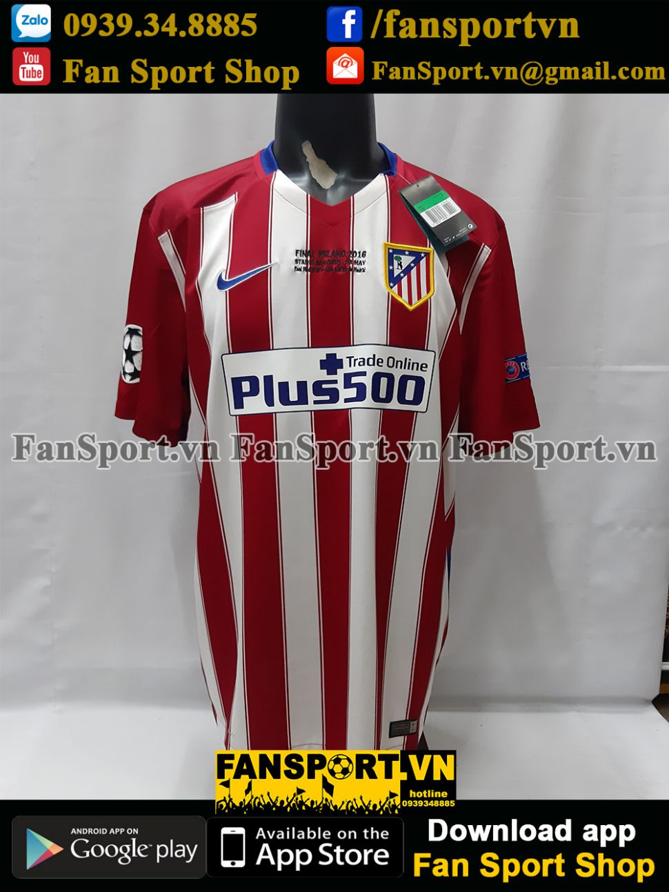 Áo Atletico Madrid Champion League Final 2016 home shirt 2015 jersey