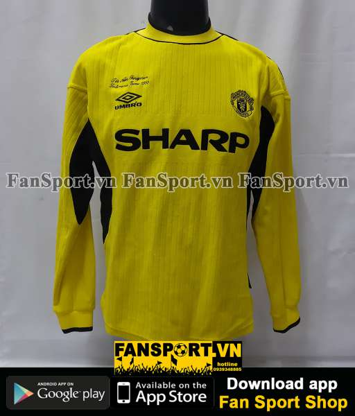 Áo GK testimonial Sir Alex Ferguson Manchester United 1999 2000 yellow