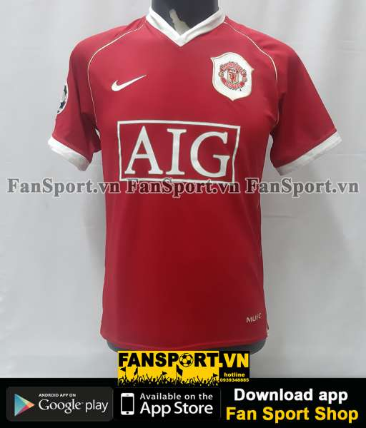 Áo Ronaldo 7 Manchester United 2006 2007 home shirt Champion League