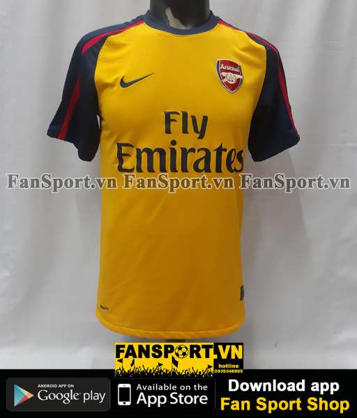 Áo đấu Fabregas 4 Arsenal 2008-2009 away shirt jersey yellow