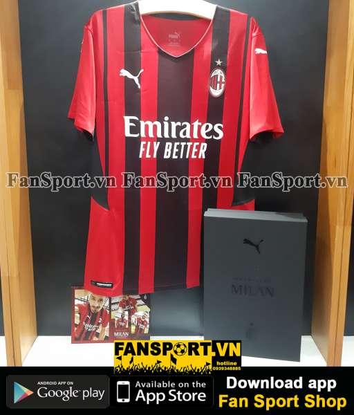 Box áo AC Milan 2021-2022 home shirt jersey authentic Puma BNWT M set