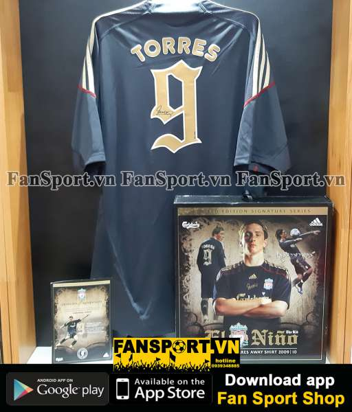 Box 0557 Torres 9 Liverpool 2009-2010 away shirt signed limited set