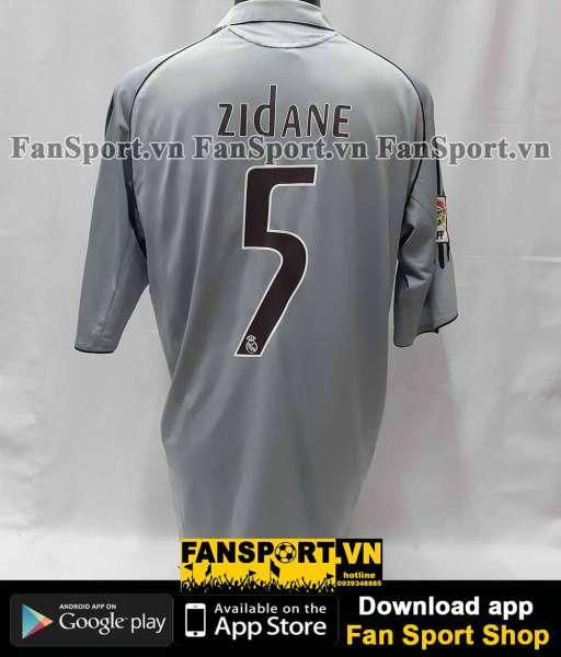 Áo đấu Zidane #5 Real Madrid 2005-2006 third shirt jersey grey