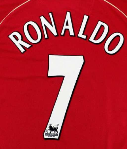 Nameset Ronaldo 7 Manchester United Premier League 2003 2007 white
