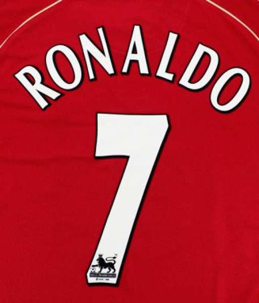 Nameset OFFICIAL Ronaldo 7 Manchester United Premier League 2003 2007