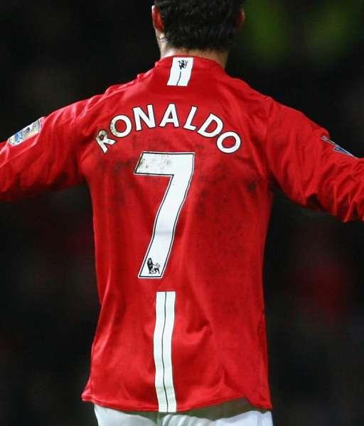 Nameset Ronaldo 7 Manchester United Premier League 2007 2008 white