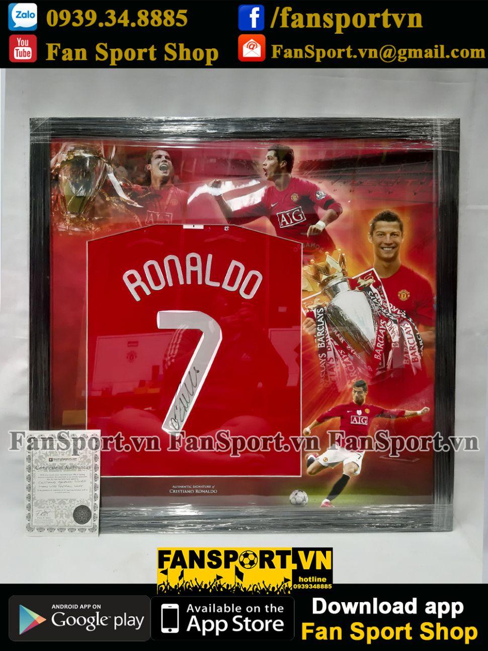 Frame chữ ký Ronaldo 7 Manchester United 2007 2008 2009 sign shirt COA
