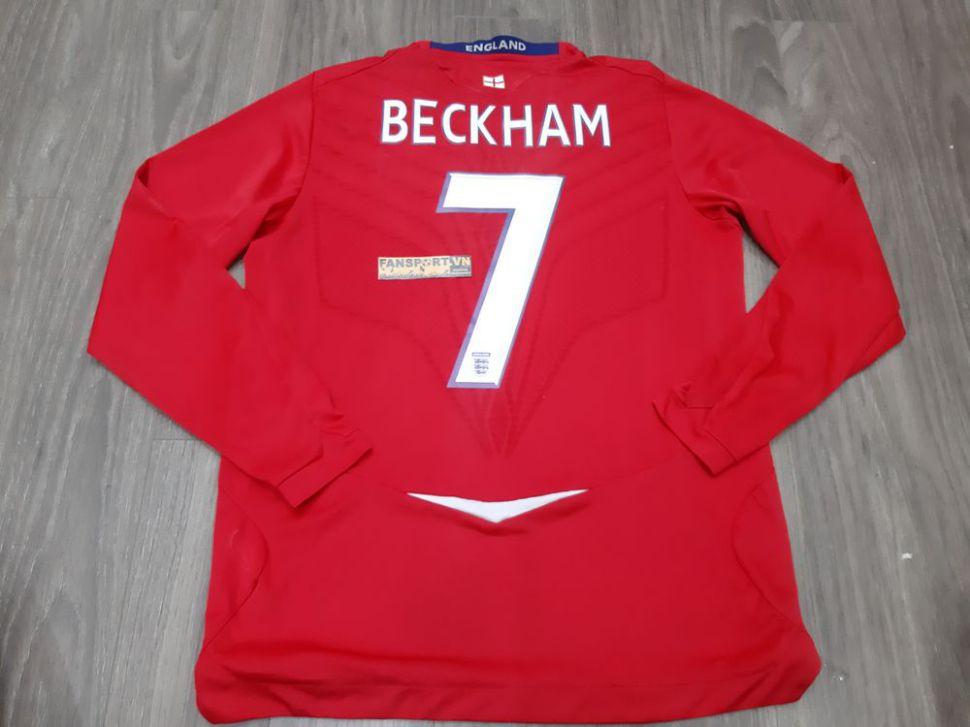 Áo đấu Beckham #7 England 2008-2009-2010 away 100th cap France long